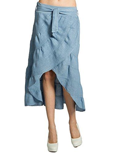 Caspar RO017 Leichter Langer Damen Sommer Leinenrock, Farbe:Jeans blau, Größe:One Size (S.M.L.XL)