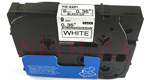 NEOUZA Compatible for Brother P-touch TZe Tz Black on White label tape 6mm 9mm 12mm 18mm 24mm 36mm all size(TZe-S221 9mm Extra Strength)