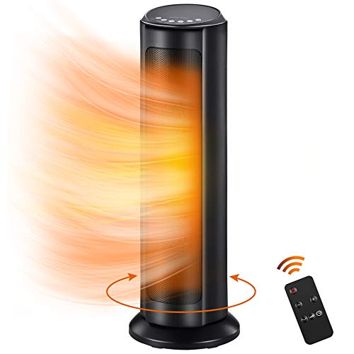 Space Heater for Indoor - 1500W Electric Ceramic Tower Heater w/. Remote Control, 8H Timer, Adjustable Thermostat, Tip-Over & Overheat Protection, Oscillating Quiet Heater for Office Home Indoor