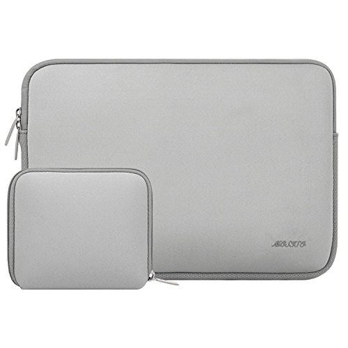MOSISO Laptop Sleeve Kompatibel mit 13-13,3 Zoll MacBook Pro, MacBook Air, Notebook Computer, Wasserabweisend Neopren Tasche mit Klein Fall, Grau
