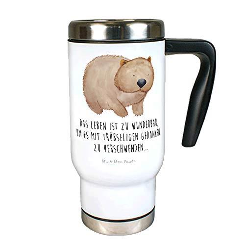 Mr. & Mrs. Panda to Go Becher, Thermotasse, Edelstahl Thermobecher Wombat mit Spruch - Farbe Weiß