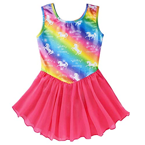 Gymnastics Wrap Skirted Leotards for Girls Kids Sparkle Rainbow Unicorn Gymnastic Skirt, Dance Ballet Dress (Rainbow/Unicorn)