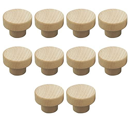 10pcs Pomos Redondos de Madera, 3x2.5cm para Cajón, Zapatero o Armario, Hongo Pomo Madera Tiradores