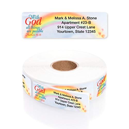 Scripture Saying Designer Rolled Address Labels with Elegant Plastic Dispenser - Roll of 500