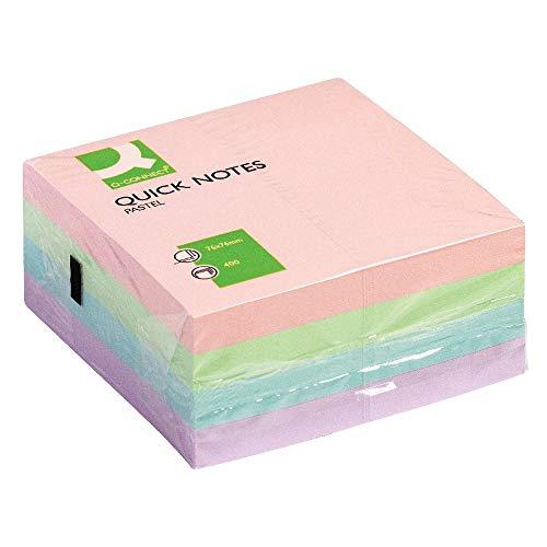 Q-Connect Bloc De Notas Adhesivas Quita Y Pon 75X75 Mm Pastel con 400 Hojas (KF01347)