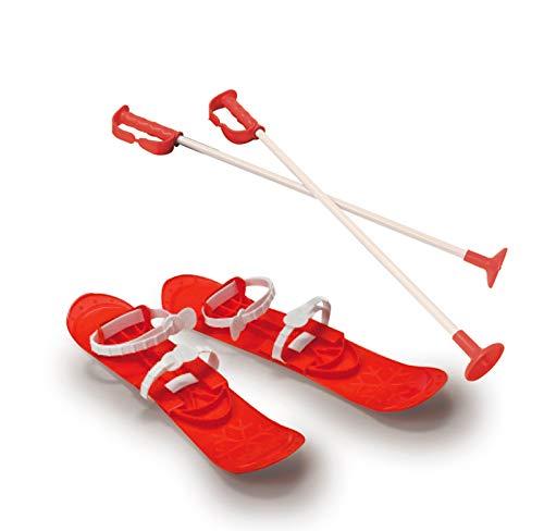 Jamara 460381 - Snow Play Funny Carve 1st step 42cm rot - aerodynamische Bauweise, Skistöcke 60 cm, sichere / verstellbare Befestigungsschlaufen Größen (23 - 28), Skistöcke 60 cm, Anti Rutsch Rillen
