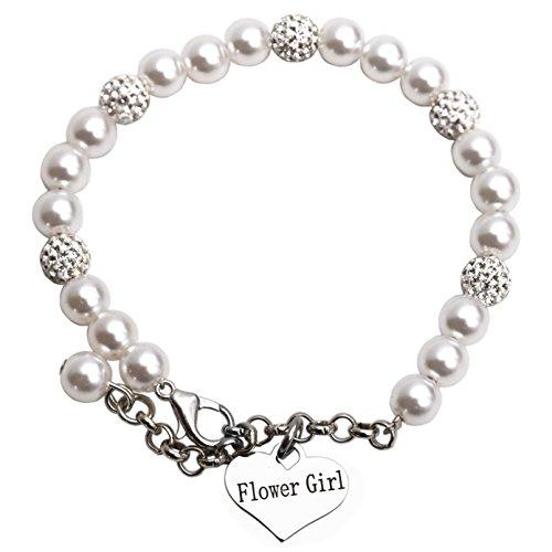 LParkin Flower Girl Bracelet Flowergirl Pearl Bracelet Flowergirl Gift Jewelry (Bracelet)