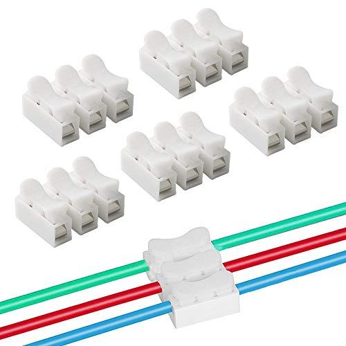 QitinDasen 60Pcs Premium CH3 Federdrahtverbinder, Schnelldrahtverbinder Verbindungsklemmen, Kabelklemme Klemmenblock, Elektrische Drähte an die LED Streifen Licht Draht Anschluss