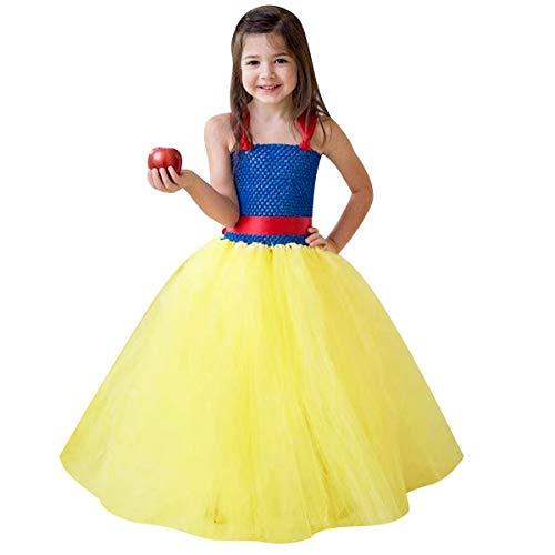 IMEKIS Vestido de princesa blanco nieve para nias, disfraz de Halloween, Navidad, carnaval, cosplay, vestido sin mangas, hecho a mano de tul tut lazo, cumpleaos, concurso de baile