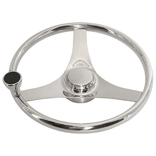 YaeGarden Stainless Steel Marine Boat Steering Wheel 15-1/2