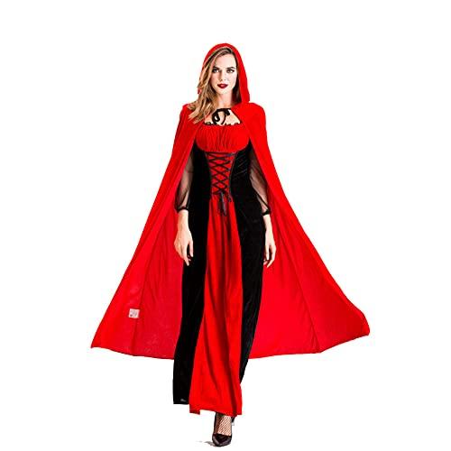 LGQ Disfraz de Caperucita Roja Disfraz de Reina del Castillo Disfraz de Halloween Vampiro Uniforme Disfraz de Cosplay para Adultos,L