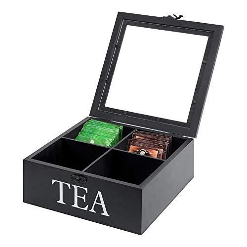 Finetoknow Caja de madera visible de 4 celdas, con tapa y pestillo para bolsas de té, joyas, café, estilo retro, 23 x 23 x 9 cm