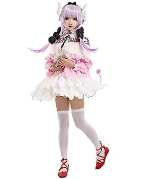Coskidz Women s Kanna Kamui Cosplay Costume Dragon Maid Cloak Outfit Lolita Maid Dress  Multicolored Medium