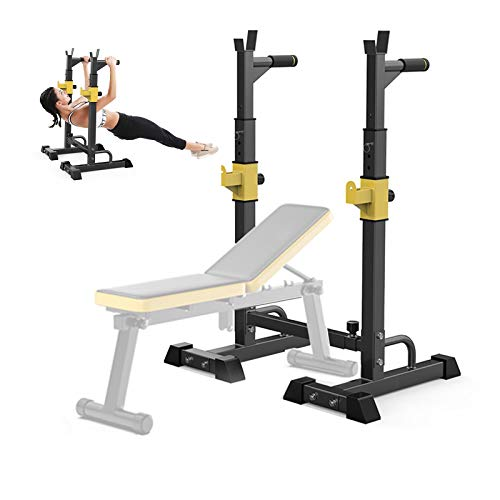EEUK Kniebeugenständer Hantelbank Squat Rack mit klimmzug Langhantelständer Verstellbar Kniebeuge Ständer für Home Gym Krafttraining Stand Fitness, 250 Kg Belastbarkeit