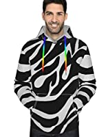 Black White Zebra Stripe Men's Fleece Hooded Sweatshirt Oversized Hoodies Pullover Long Sleeve Sweatshirt Workout Thermal Hoodies Jackets for Adult, King Size