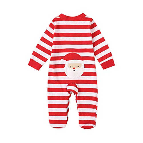 RSRZRCJ Infant Baby Girl Boy Christmas Romper Long Sleeve Striped Footed Santa Bodysuit Christmas...