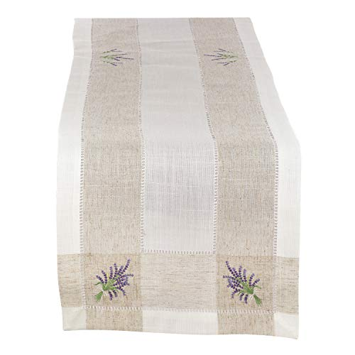 Fennco Styles Hommage Brodé Collection Cottage Lavender Embroidery Border Hemstitch Table Runner 15 x 70 Inch – Ivory Table Cover for Wedding, Banquet, Tea Party and Home Décor