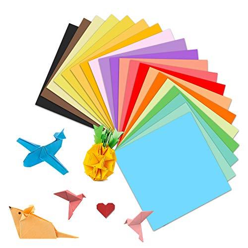 Hanyousheng Origami Papier,Farben Quadratisches Faltpapier 100 Stück 20 Farben 15 x 15 cm Farbiges Bastelpapier für Weihnachten Origami DIY Kunst und Bastelprojekte Farbigem Origami