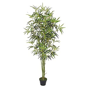 Goplus Fake Bamboo Tree Artificial Greenery Plants in Nursery Pot Decorative Trees for Home, Office, Lobby (6ft, Green Trunk)