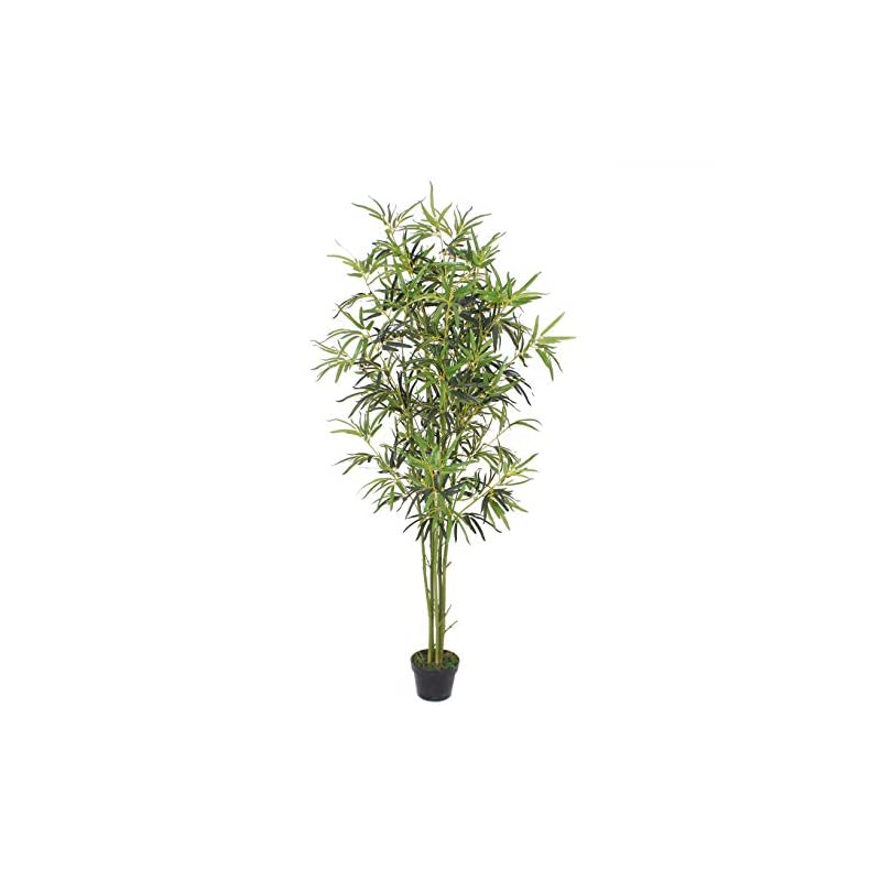 silk flower arrangements goplus fake bamboo tree artificial greenery plants in nursery pot decorative trees for home, office, lobby (6ft, green trunk)