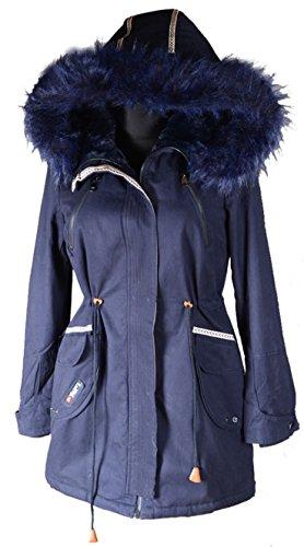 Italy Donna dames XXL bontkraag capuchon winter jas parka mantel warm gevoerd 36 38 40 42 44 46 S M L XL Navi blauw anorak legergroen militair