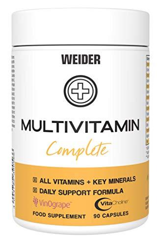 Weider Multivitamin Complete A-Z Premium Komplex mit bioaktiven Vitaminen, Spurenelementen und pflanzlichen Nährstoffen, hochdosiert, 90 Kapseln
