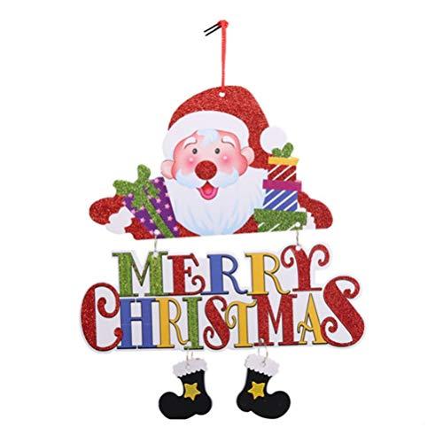 NUOBESTY Feliz Navidad Puerta Signo Vacaciones Pared Signo decoración Fiesta de Navidad Colgante Adorno (Santa Claus)