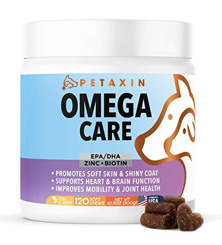 Petaxin Omega Fish Oil for Dogs - Skin and Coat Supplement Chews with EPA  DHA  and Omega-3 Fatty Acids - for Shiny Coats  Itch Free Skin  Hip & Joint Support  Heart & Brain Health (120 Capsule)