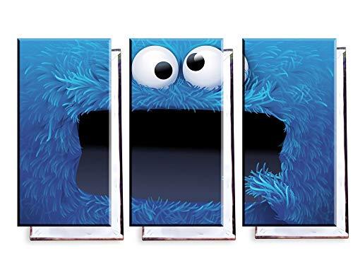 Unified Distribution Krümel Monster Sesamstraße - Dreiteiler (120x80 cm) - Bilder und Kunstdrucke fertig auf Leinwand aufgespannt & in erstklassiger Druckqualität