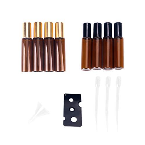 SUPVOX 8 pièces 10ml Roll-on Bouteilles de Huile Essentielle en Bille Acier Inoxydable Bouteilles Verre vides pour parfum aromathérapie (couleur mélangée)