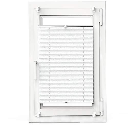 OBdeco Plissee Rollo Klemmfix ohner Bohren Faltrollo für Fenster Blickdicht Sonnenschutz Easyfix Weiß 65x130cm