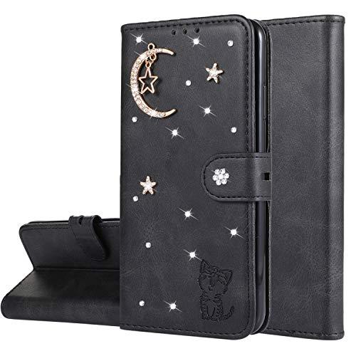 Miagon Diamant Brieftasche Hülle für Huawei Honor 20,Mond Star Katze 3D Design PU Leder Flip Handyhülle Klapphülle Klappbar Silikon Bumper Schutzhülle,Schwarz