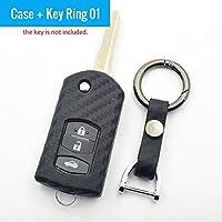 炭素繊維ラバー車のキーケース折りたたみ Fob プロテクターカバーキーホルダーマツダ 3 5 6 CX5 CX7 CX9 RX8 MX5 アクセサリー-Case and Key Ring 01