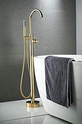 Tub Filler Bathtub Shower Faucet Set 360 Degree Swivel Spout, Freestanding Bathtub Faucet with Handheld Spray Head, Solid Brass, Beelee BL19001G
