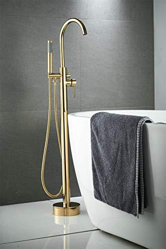 Finitura oro a 2 vie Miscelatori per vasca da bagno freestanding, Montato a pavimento Rubinetti per doccia con riempimento vasca Rubinetto per vasca in ottone con spruzzatore manuale, Beelee BL19001G