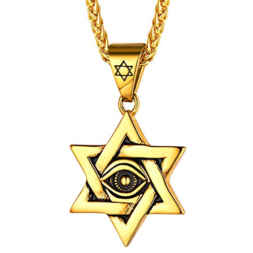 FaithHeart Seis Puntas de la Estrella Ojo Turco Collar Estrella de David Talismán Amuleto de Protección Colgante Oro Amarillo 18K Acero Inoxidable