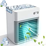 Portable Air Conditioner, Rechargeable Mini Air Conditioner, Personal Air Cooler Personal Compact Evaporative Air Cooler Fan, 3 Speeds 7 Colors USB 2000 mAh Power for Home, Office and Room (White)