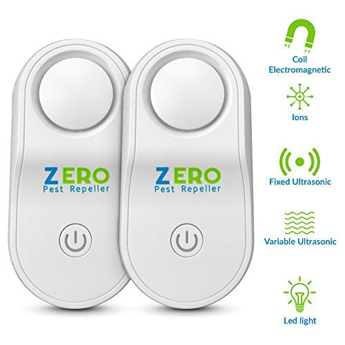 ZEROPEST Ultrasonic Pest Repeller 2020 Upgraded, Pest Control Reject Devices Electronic Plug in Repellent Defender Home Indoor for Rat Mosquito Mice Spider Ant Roaches Bugs Flea Insect (2 Pack)