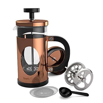bonVIVO GAZETARO I Cafetera Francesa (French Press) y Prensa Francesa de Embolo Fabricada con Acero Inoxidable - Cafetera Filtro con Acabado en Cobre con Filtros, tamaño: 0.35 L / 350ml