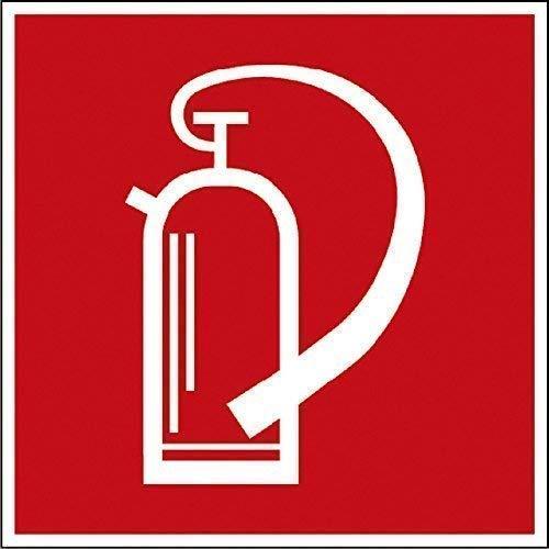 PVC Aufkleber Brandschutzkennzeichen - Feuerlöscher - K137/87 nach BGV A8, DIN 4844 und Arbeitsstättenverordnung 200 x 200 mm