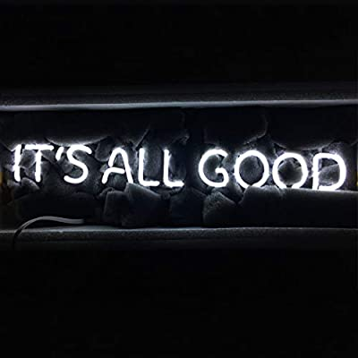 "LiQi ITS All Good Neon Sign (18.5"" x 4"" Large)Real Glass Acrylic Panel Handmade for Home Bedroom Pub Hotel Beach Recreational Game Room Decor"