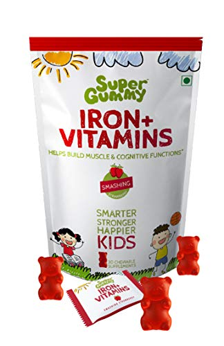 Super Gummy Iron & Vitamins Gummies to Build Muscle, Improve Cognitive Function for Kids (30 Chewable Gummy Bears)
