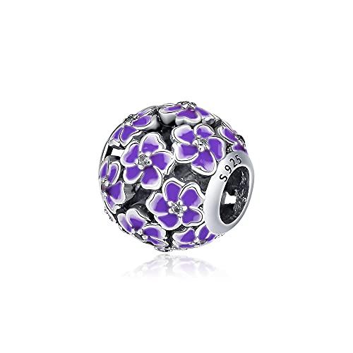 LIIHVYI Pandora Charms para Mujeres Cuentas Plata De Ley 925 Joyas De Flor De Prímula Púrpura Compatible con Pulseras Europeos Collars