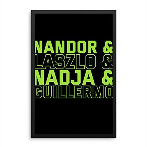 Uzubunki Póster con texto en inglés 'What We Do Shadow Nandor, Laszlo, Nadja, Guillermo - Póster decorativo para la habitación (40,6 x 60,9 cm)
