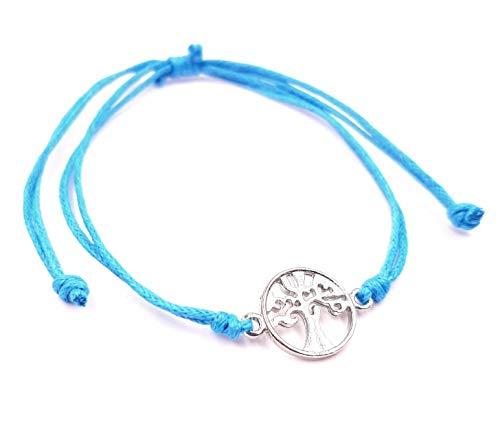 MADE IN ZEN - Pulsera brasileña azul turquesa, unisex, algodón, artesanal, árbol de la vida