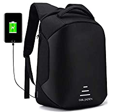 Fur Jaden Anti Theft Backpack with USB Charging Port 15.6 Inch Laptop Bagpack Waterproof Casual Unisex Bag for School College Office Suitable for Men Women,Fur Jaden,BM25_Black