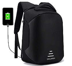 Fur Jaden Anti Theft Backpack with USB Charging Port 15.6 Inch Laptop Bagpack Waterproof Casual Unisex Bag for School College Office Suitable for Men Women,Fur Jaden,BM25_Black