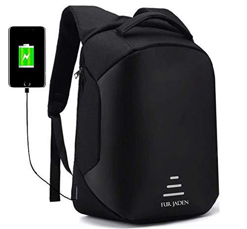 Fur Jaden Anti Theft Backpack with USB Charging Port 15.6 Inch Laptop Bagpack Waterproof Casual Unisex Bag for School College Office Suitable for Men Women