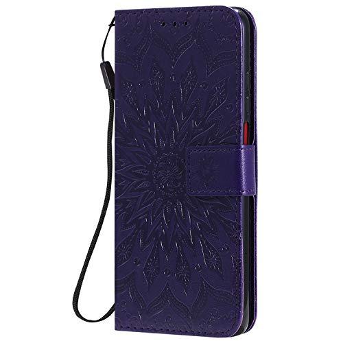KKEIKO Hülle für Xiaomi Redmi K30, PU Leder Brieftasche Schutzhülle Klapphülle, Sun Blumen Design Stoßfest Handyhülle für Xiaomi Redmi K30 - Violett