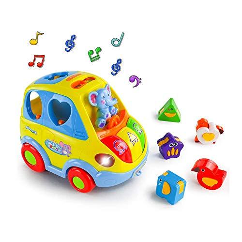Zhenwo Baby Toy Electric Car Toy Musique Toddler Bus Lumière Et Animaux Puzzle pour L'éducation Précoce d'apprentissage Toy Cadeau pour Les Bébés Et Les Tout-Petits De 18 Mois 2 Ans 3,A